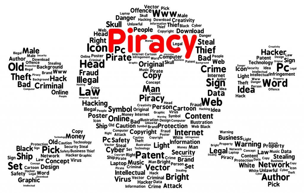 Piracy word cloud shape concept