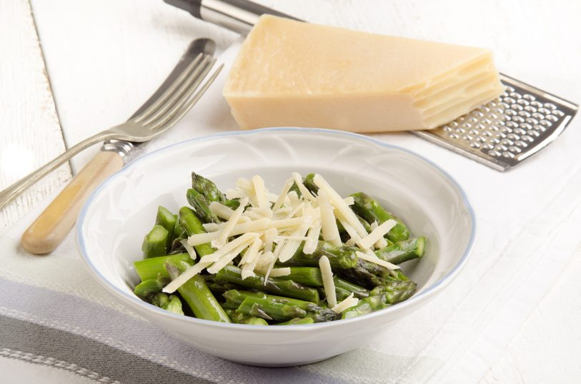 warm green asparagus with grated parmesan cheese