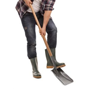 Full length portrait of a young agricultural worker digging with a shovel and looking at the camera isolated on white background