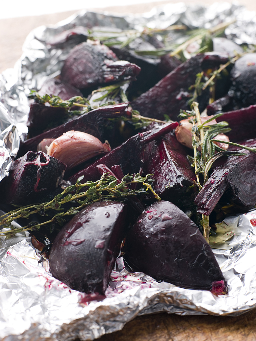 Roasted Beetroot with Herbs Garlic and Balsamic Vinegar in tin foil