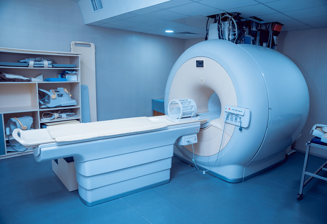 Medical equipment. MRI room in hospital. Background